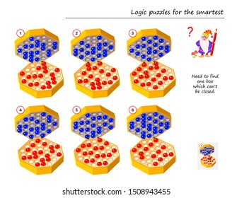 Logic puzzle game for smartest. Need to find one box which can't be closed. Printable page for brain teaser book. Developing spatial thinking. IQ training test. Vector image.