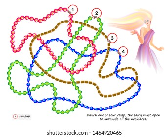 Logic puzzle game for smartest. Which one of four clasps the fairy must open to untangle all the necklaces? Printable page for brainteaser book. Developing spatial thinking. Vector cartoon image.
