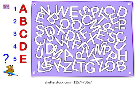 Logic puzzle game for young children. Need to find corresponding quantity of each letter and paint them. Worksheet for developing skills for writing and counting. Vector cartoon image.