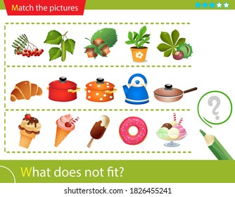 Logic puzzle for kids. What does not fit? Fruits and seeds of plants. Kitchenware. Ice cream. Matching game, education game for children. Worksheet vector design for preschoolers.