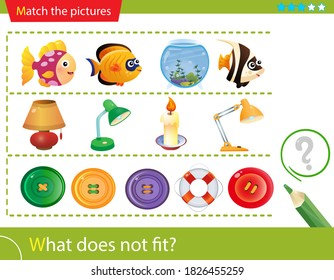 Logic puzzle for kids. What does not fit? Aquarium fish. Table lamps. Buttons. Matching game, education game for children. Worksheet vector design for preschoolers.