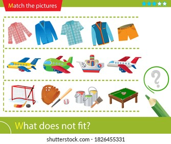 Logic puzzle for kids. What does not fit? Sweatshirts and shirts. Air transport: planes. Sports equipment. Matching game, education game for children. Worksheet vector design for preschoolers.