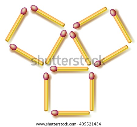 Logic Puzzle Move Four Matchsticks Make Stock Vector Royalty Free