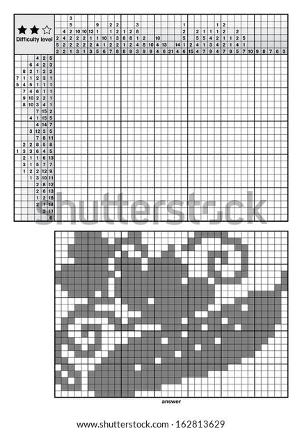 Logic Puzzles Japanese Crossword Nonogram Beginners Stock Vector