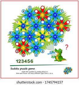 Logic Sudoku puzzle game for children. Write the numbers in empty places so that each flower will have different signs from 1 to 6. Printable page for kids brain teaser book. Play online.
