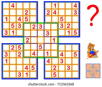 Logic Sudoku puzzle game made from five squares. Vector image.