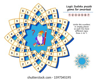 Logic Sudoku puzzle game for smartest. Write the numbers in empty places so each line have different signs from 1 to 7. Printable page for kids brain teaser book. Developing counting skills.