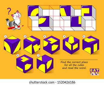 Logical puzzle game for children. Find the correct place for all the cubes and read the word. Study English. Printable page for kids brain teaser book. Developing spatial thinking. IQ training test.