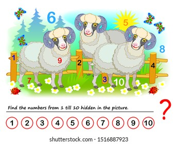 Logical puzzle game for kids. Math exercise for little children. Find hidden numbers from 1 till 10. Developing counting skills. IQ training test. Printable worksheet for textbook. Back to school.