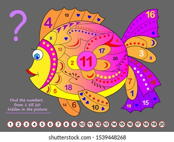 Logical puzzle game for kids. Math exercise for little children. Find hidden numbers from 1 till 20. Developing counting skills. IQ training test. Printable worksheet for textbook. Back to school.