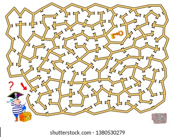 Logical puzzle game with labyrinth for children and adults. Help the pirate find the way till the key to open a treasure chest. Printable page for brainteaser book. Vector cartoon image.