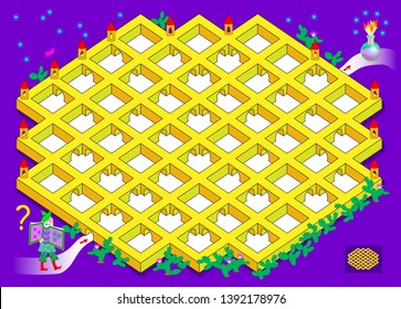 Logical puzzle game with labyrinth for children and adults. Help the wizard find the way in the castle till the alchemist magic bulb. Printable page for brainteaser book. Vector cartoon image.