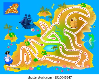 Logical puzzle game with labyrinth for children and adults. Help pirate find way in treasure island to buried gold. Printable worksheet for kids brain teaser book. IQ test. Vector cartoon image.