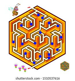 Logical puzzle game with labyrinth for children and adults. Help the little bee find the way in honeycomb till flowers. Printable worksheet for kids brain teaser book. IQ test. Vector cartoon image.