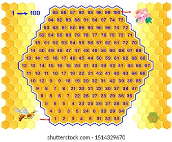 Logical puzzle game with labyrinth for children and adults. Find way from number 1 till 100. Printable worksheet for kids brain teaser book. Developing counting skills. IQ test. Vector cartoon image.