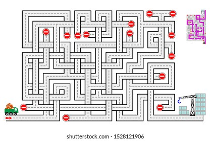 Logical puzzle game with labyrinth for children and adults. Help the lorry deliver bricks to the construction of houses. Printable worksheet for kids brain teaser book. IQ test. Vector cartoon image.