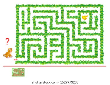 Logical puzzle game with labyrinth for children and adults. Help the monkey find way in jungle till bananas. Printable worksheet with maze for kids brain teaser book. IQ test. Vector cartoon image.