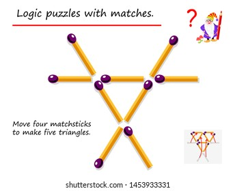Logical puzzle game with matches. Need to move four matchsticks to make five triangles. Printable page for brainteaser book. Developing spatial thinking. Vector image.