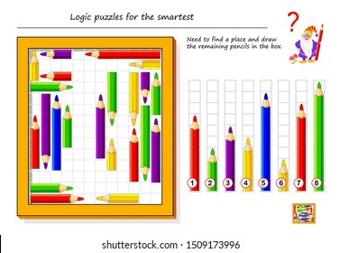 Logical puzzle game for smartest. Need to find a place and draw the remaining pencils in the box. Printable page for brain teaser book. Developing spatial thinking. IQ training test. Vector image.