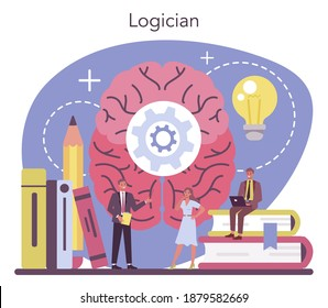 Logician concept. Scientist systematicly studying logical challenges and solutions. Thinking process, the systematic exposition of the logical forms. Isolated vector illustration