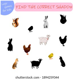 logik game for kids find the right shade for animals, squirrel, hare, goat, fox, chicken, chicken. Vector illustration isolated on a white background