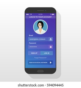 Login to application account on smartphone screen ui kit in flat design style isolated on white background. New user signing up on black mobile phone digital gadget device. Vector illustration eps10.