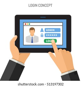 Login Concepts Man holding tablet PC similar to ipad horizontal in hand and touching logon window with password. Isolated vector flat icon illustration.