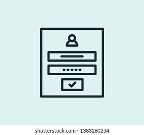 Login form icon line isolated on clean background. Login form icon concept drawing icon line in modern style. Vector illustration for your web mobile logo app UI design.