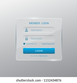 login form interface for website,mobile applications,glossy stylish ui element on gray background.