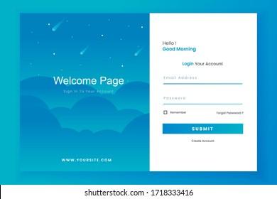 Login form landing page design template