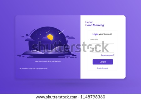 Login Form Landing Page Design Template Stock Vector Royalty Free