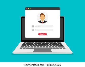 Login form on laptop screen. Login and password form page. Account login user. Sign in to account. Username and password fields for authorization. Flat design. Vector illustration.