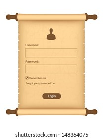 Login form on parchment roll