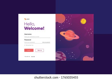 Login form page. with galaxy universe planet and stars background. Web site template, ui ux element, vector illustration