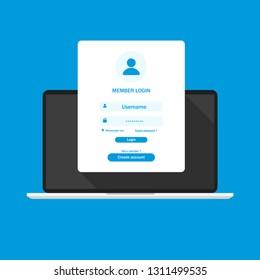 Login form page on laptop screen registration page online registration. Flat design EPS 10