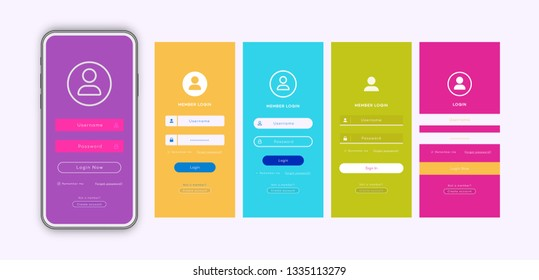 Login form page template set with trendy flat color background for app development, smartphone mockups, website ui elements, online login form, registration, user profile, access to account. Vector
