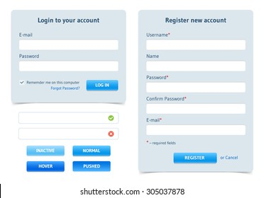 Login form and registration form