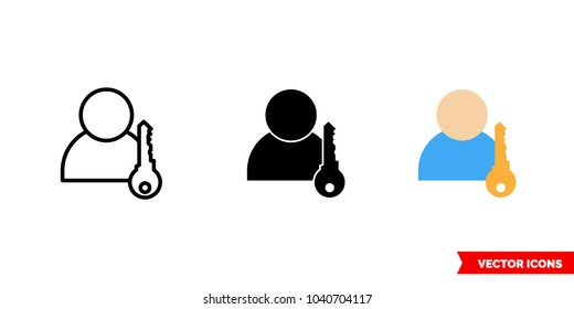 Login icon of 3 types: color, black and white, outline. Isolated vector sign symbol.