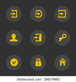 Login icons (yellow account)