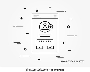 Login interface vector linear (line) illustration. User login access technology creative concept. Register web interface (log in, form, window, lock) graphic design.