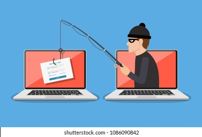 Login into account and fishing hook. Phishing scam, hacker attack and web security concept. online scam and steal. vector illustration in flat design