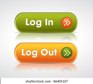 login and log out buttons