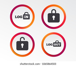 Login and Logout icons. Sign in or Sign out symbols. Lock icon. Infographic design buttons. Circle templates. Vector