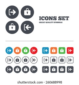 Login and Logout icons. Sign in or Sign out symbols. Lock icon. Web buttons set. Circles and squares templates. Vector