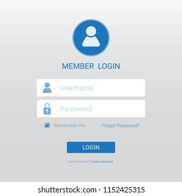 Login member interface design for your website,page or mobile applications, sign in web element template window