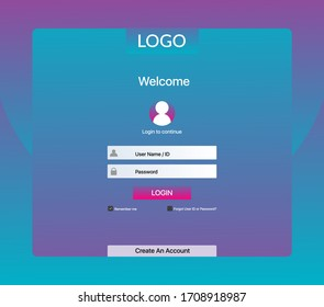 Login page. Log in form. Login page design for website and mobile apps. Sign in page. Sign up account. Website registration page.