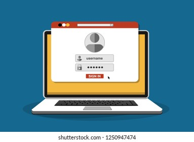 Login page on laptop screen. Notebook and online login form, sign in page. User profile, access to account concepts. Vector stock illustration.