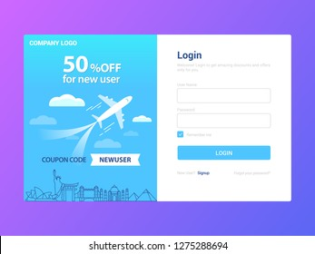 Login Page Template Design, Signup for Amazing Offer, Travel company Promotional Offer