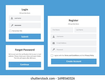 Login and Register Form with Blue Theme for Desktop Application or Website