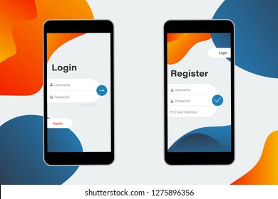 Login and Register on Screen. Log In and Sign Up UI UX on Smartphone Screen. Sign In Screen. Login Application with Password Form Window. Trendy Holographic Gradients Shapes. form page